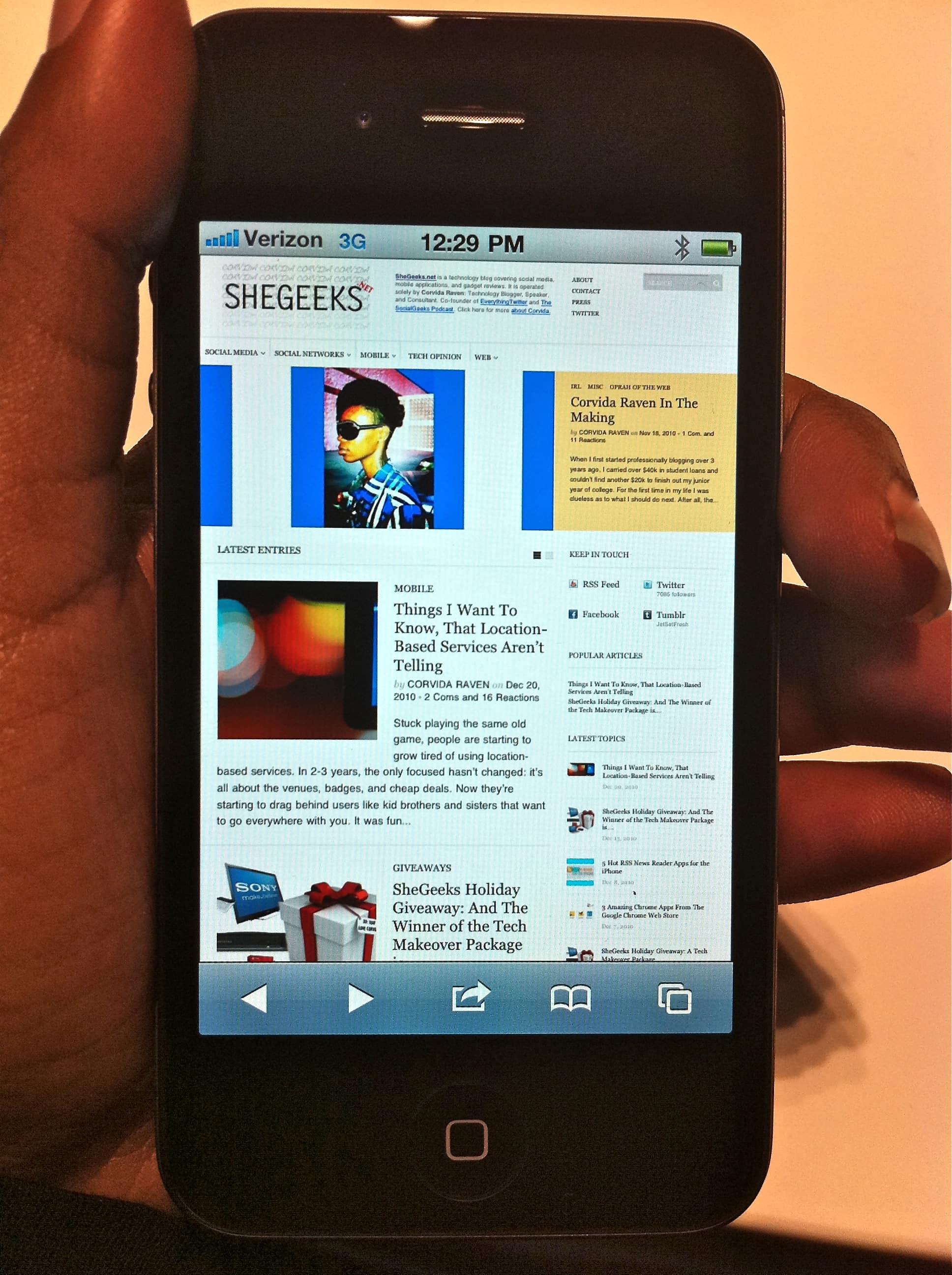 SheGeeks on iPhone 4 (Verizon)