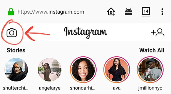 Instagram Mobile Site Story Button